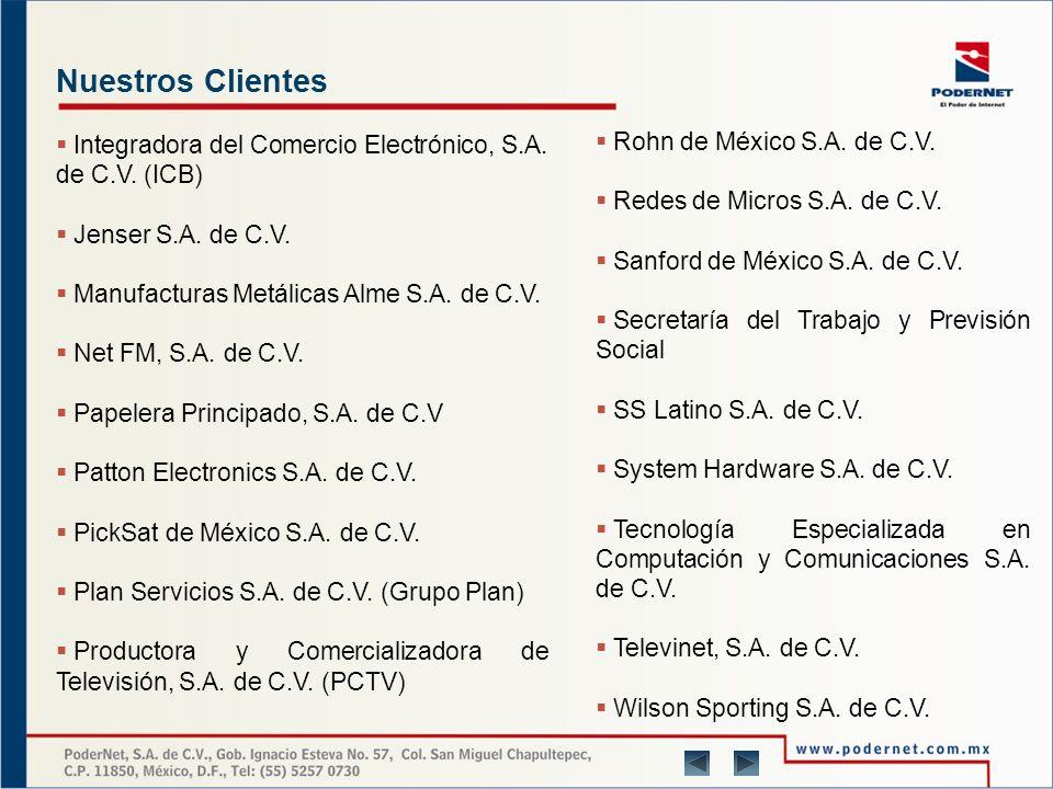 Nuestros Clientes Nuestra capacidad nos permite ir desde los servicios elementales en Internet hasta la tecnología más avanzada para su empresa, que da como resultado clientes satisfechos entre los que podemos mencionar: Acer Computec México, S.A.