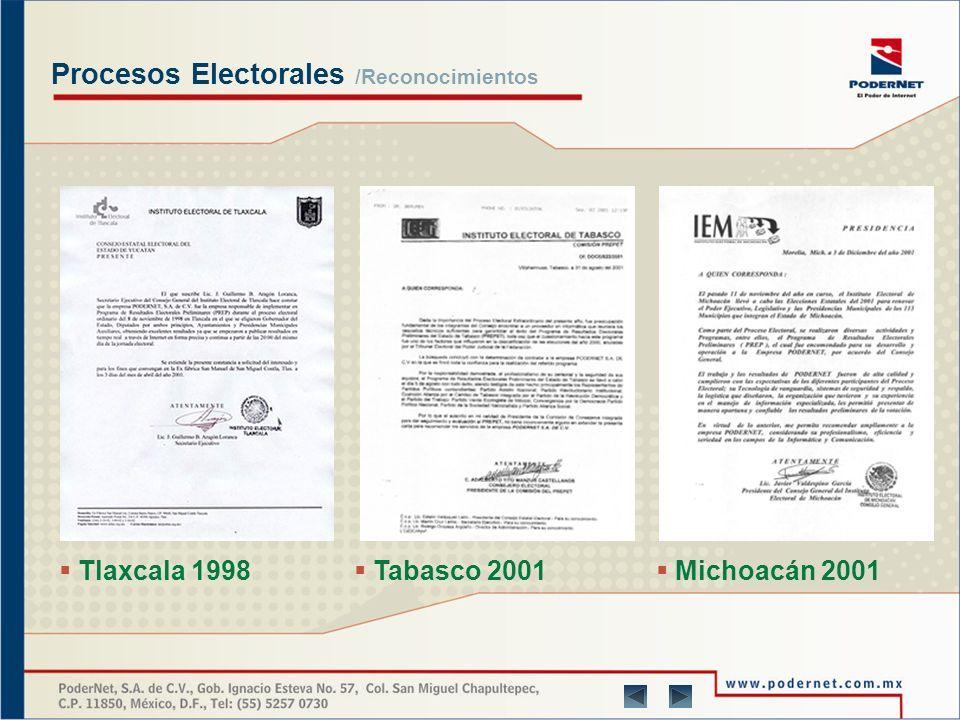 Productos y Servicios /Experiencia Manejo integral del PREP en el Estado de Quintana Roo (febrero 2002) Manejo integral del PREP en el Estado de Yucatán (mayo 2004) Manejo integral del PREP en el Estado de Aguascalientes (agosto de 2004) Manejo integral del PREP en el Estado de Michoacán (noviembre 2004) Consultoría en el Estado de Quintana Roo (febrero de 2005) Manejo integral del PREP en el Estado de Campeche (julio 2006) Manejo integral del PREP en el Estado de Yucatán (mayo 2007) Manejo integral del PREP en el Estado de Michoacán (noviembre 2007) Manejo integral del PREP en el Estado de Baja California Sur (febrero 2008) Consulta Ciudadana Perú 2007 En la segunda quincena del mes de septiembre de 2007 por mandato oficial/validez en resultados, se efectuó la CONSULTA CIUDADANA en diferentes distritos de la República del Perú.
