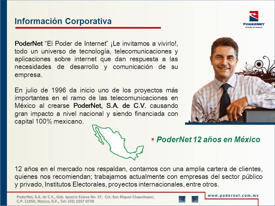 Información Corporativa PoderNet El Poder de Internet ¡Le invitamos a vivirlo!, todo un universo de tecnología, telecomunicaciones y aplicaciones sobre internet que dan respuesta a las necesidades de desarrollo y comunicación de su empresa.