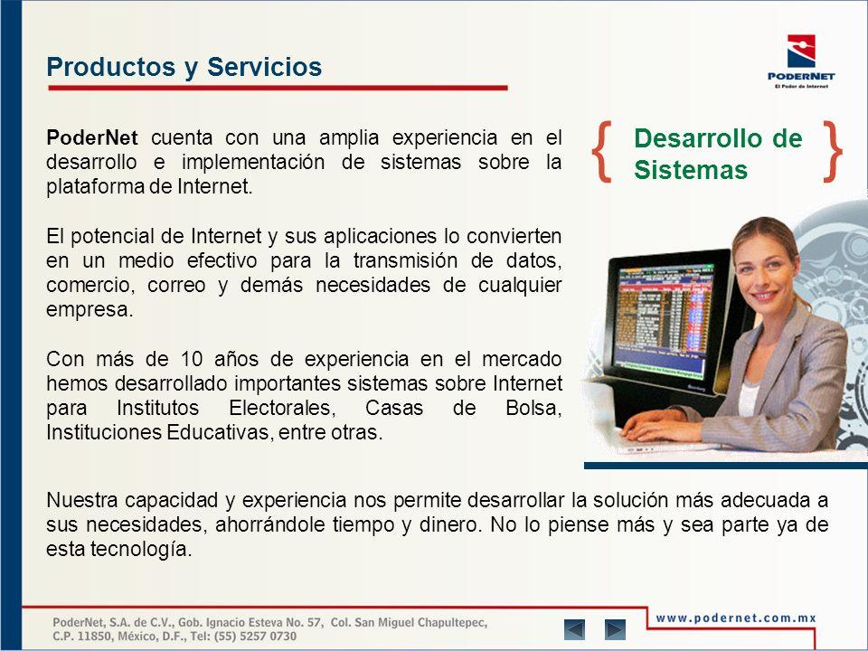 Productos y Servicios PoderNet cuenta con una amplia experiencia en el desarrollo e implementación de sistemas sobre la plataforma de Internet.
