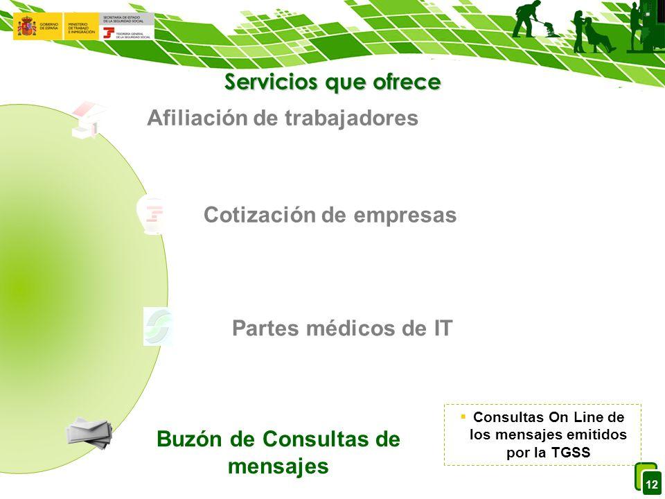 12 Servicios que ofrece Afiliación de trabajadores Cotización de empresas Partes médicos de IT Buzón de Consultas de mensajes Consultas On Line de los mensajes emitidos por la TGSS