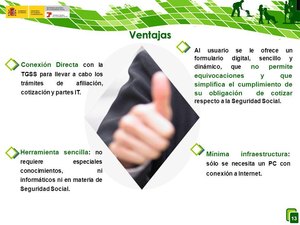 13 Ventajas Al usuario se le ofrece un formulario digital, sencillo y dinámico, que no permite equivocaciones y que simplifica el cumplimiento de su obligación de cotizar respecto a la Seguridad Social.