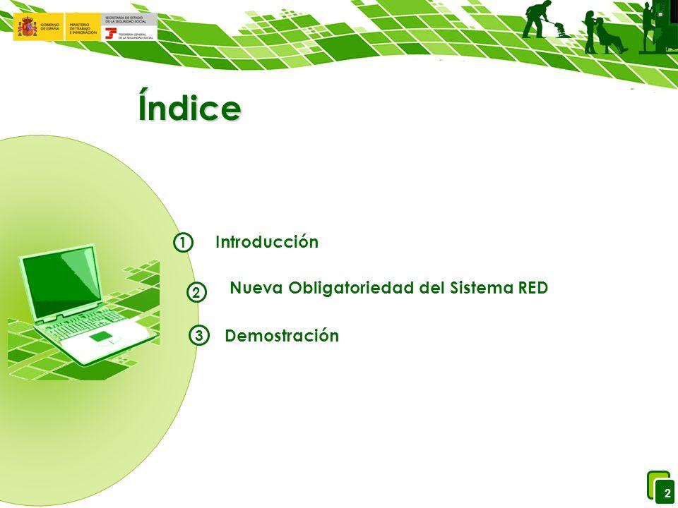 2 Índice Introducción Nueva Obligatoriedad del Sistema RED Demostración 1 2 3