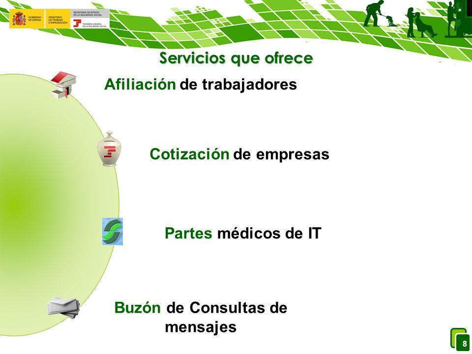 8 Servicios que ofrece Afiliación de trabajadores Cotización de empresas Partes médicos de IT Buzón de Consultas de mensajes