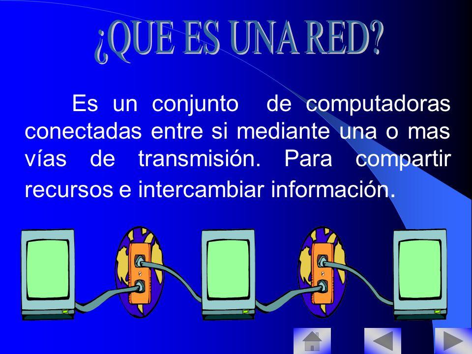 Es un conjunto de computadoras conectadas entre si mediante una o mas vías de transmisión.