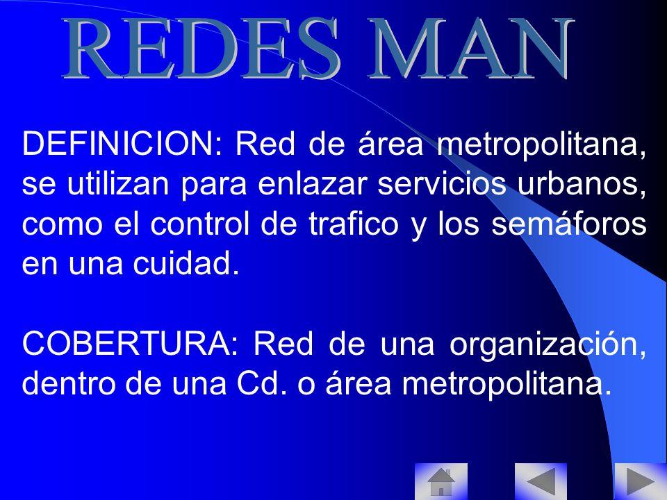 DEFINICION: Red de área metropolitana, se utilizan para enlazar servicios urbanos, como el control de trafico y los semáforos en una cuidad.