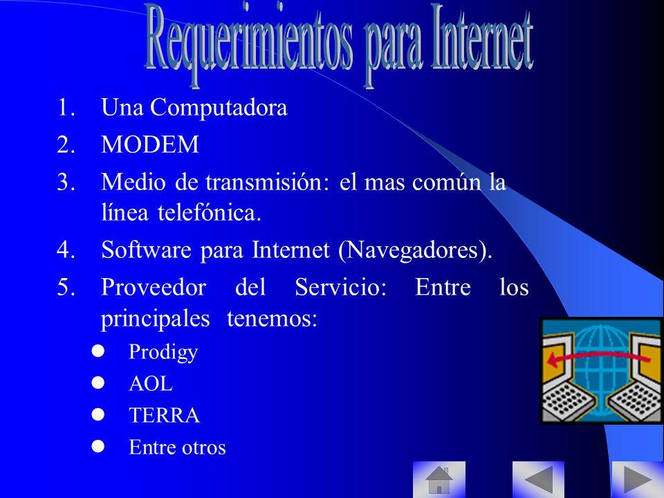1.Una Computadora 2.MODEM 3.Medio de transmisión: el mas común la línea telefónica.