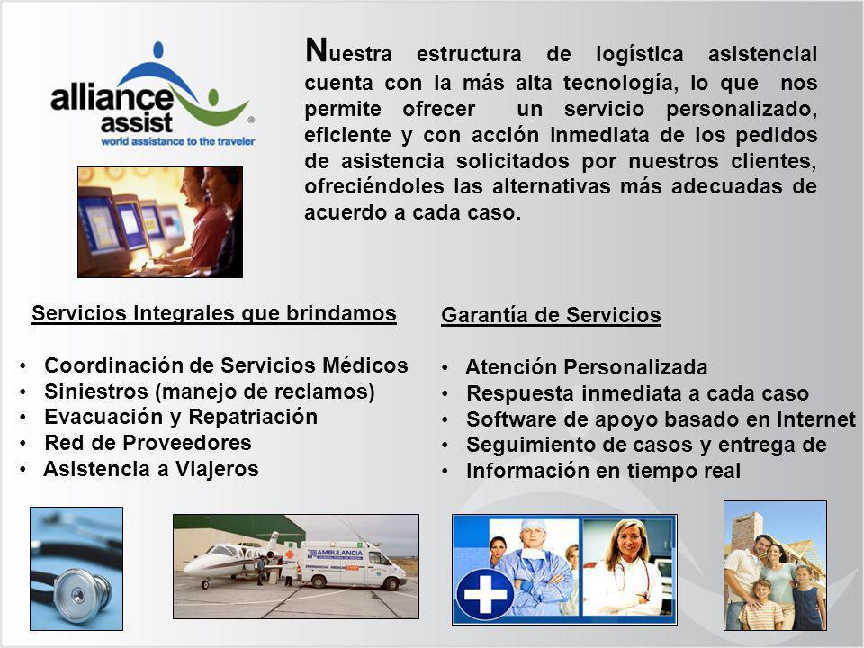 Servicios Integrales que brindamos Coordinación de Servicios Médicos Siniestros (manejo de reclamos) Evacuación y Repatriación Red de Proveedores Asis