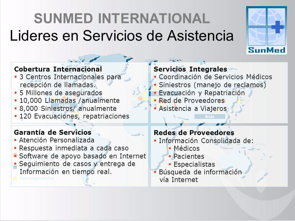 SUNMED INTERNATIONAL Lideres en Servicios de Asistencia Centros de atención EEUU / Europa / Asia Servicios de Asistencia Asia Europa EEUU Corresponsal
