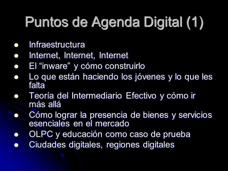 Puntos de Agenda Digital (1) Infraestructura Infraestructura Internet, Internet, Internet Internet, Internet, Internet El inware y cómo construirlo El