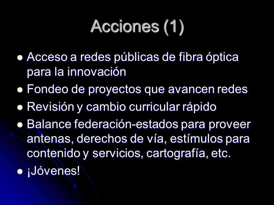 Acciones (1) Acceso a redes públicas de fibra óptica para la innovación Acceso a redes públicas de fibra óptica para la innovación Fondeo de proyectos