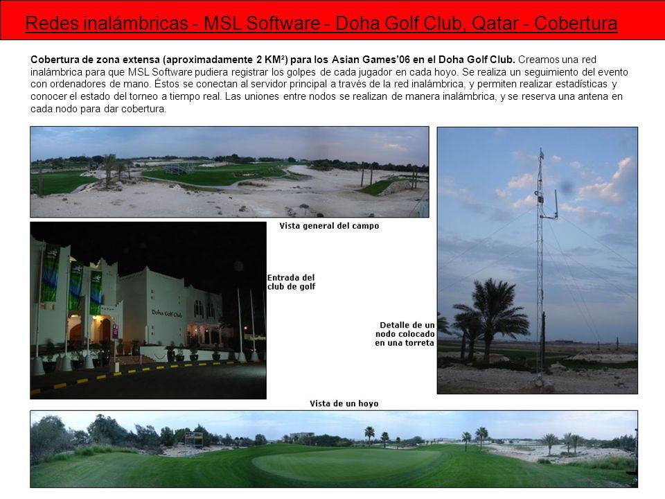 Cobertura de zona extensa (aproximadamente 2 KM²) para los Asian Games06 en el Doha Golf Club. Creamos una red inalámbrica para que MSL Software pudie