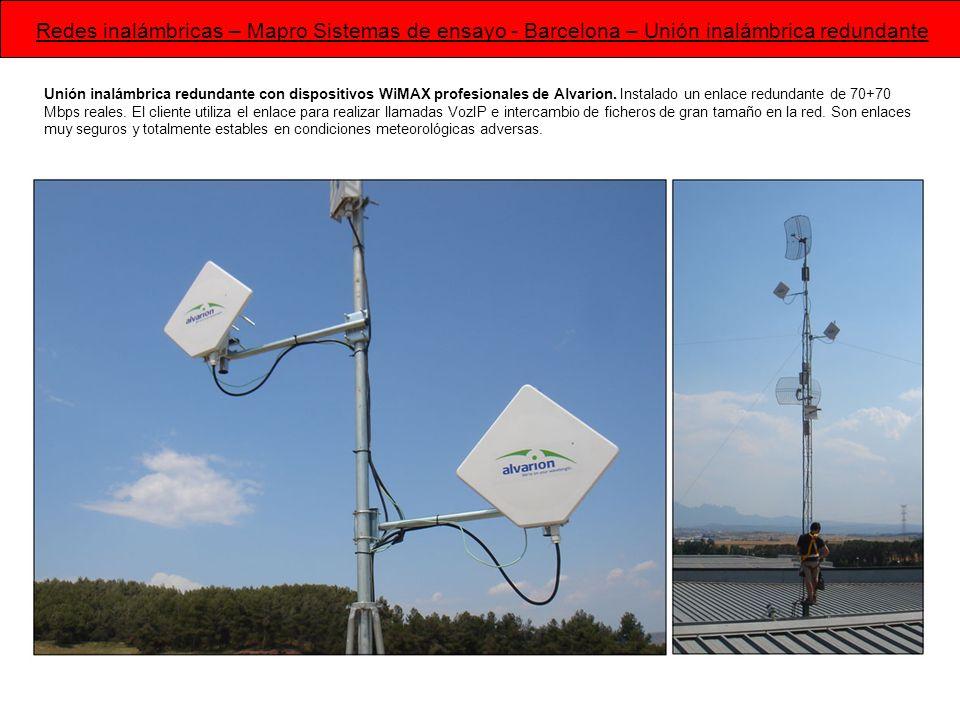 Unión inalámbrica redundante con dispositivos WiMAX profesionales de Alvarion. Instalado un enlace redundante de 70+70 Mbps reales. El cliente utiliza