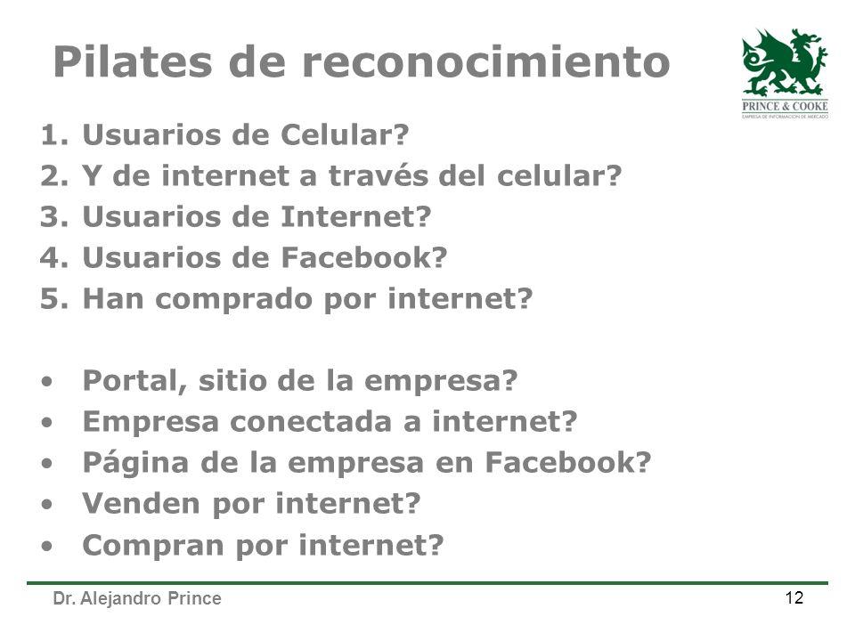 Pilates de reconocimiento 1.Usuarios de Celular. 2.Y de internet a través del celular.