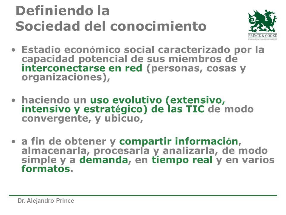 Dr. Alejandro Prince Definiendo la Sociedad del conocimiento Estadio econ ó mico social caracterizado por la capacidad potencial de sus miembros de in