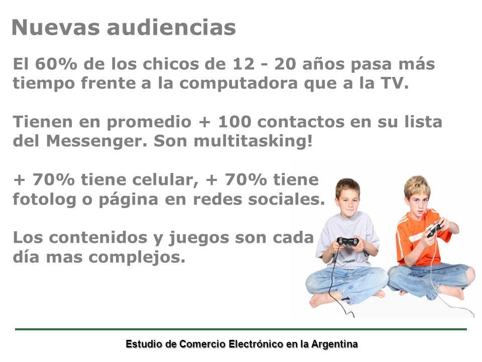 Estudio de Comercio Electrónico en la Argentina El 60% de los chicos de 12 - 20 años pasa más tiempo frente a la computadora que a la TV.