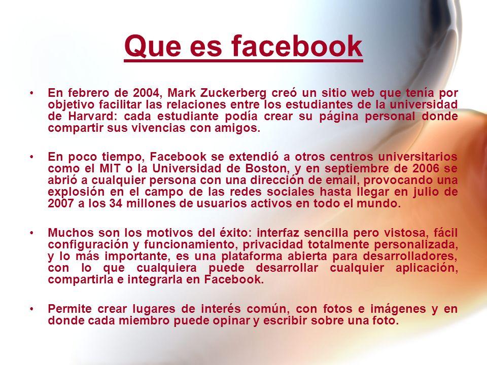 Que es facebook En febrero de 2004, Mark Zuckerberg creó un sitio web que tenía por objetivo facilitar las relaciones entre los estudiantes de la univ