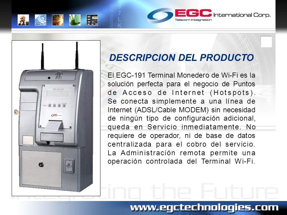Estado del Sistema La pagina con la información del Estado del Sistema permite establecer todas las referencias necesarias para la buena operación del Terminal EGC-191.