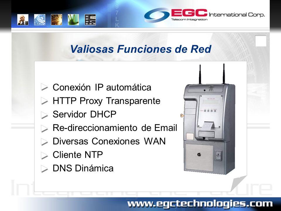 Administración Interfase GUI Lista de sesiones en tiempo real Administración de la red LAN Mensajes Log del Sistema Estado del sistema Respaldo y recuperación