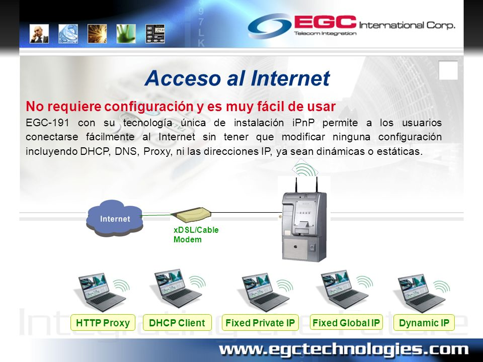Lista de Cuentas de Usuarios El EGC-191 suministra una interfase amigable basada en pagina WEB que permite la administración centralizada de la operación de cada Terminal