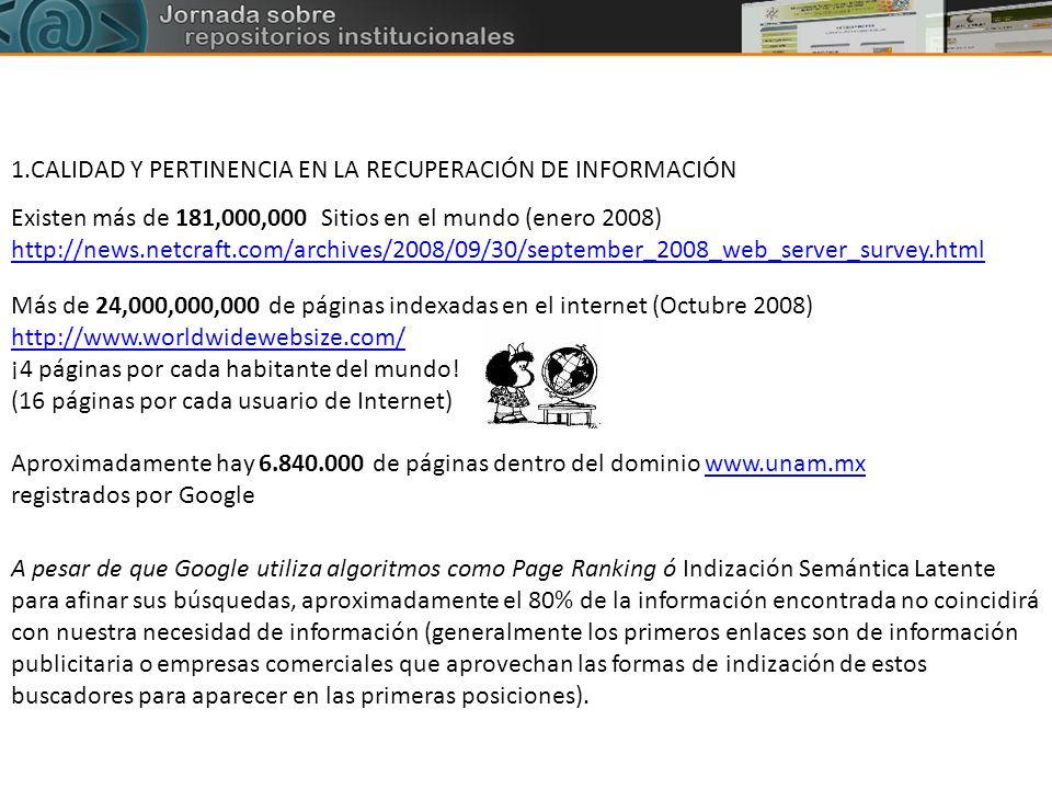 1.CALIDAD Y PERTINENCIA EN LA RECUPERACIÓN DE INFORMACIÓN Aproximadamente hay 6.840.000 de páginas dentro del dominio www.unam.mx registrados por Goog
