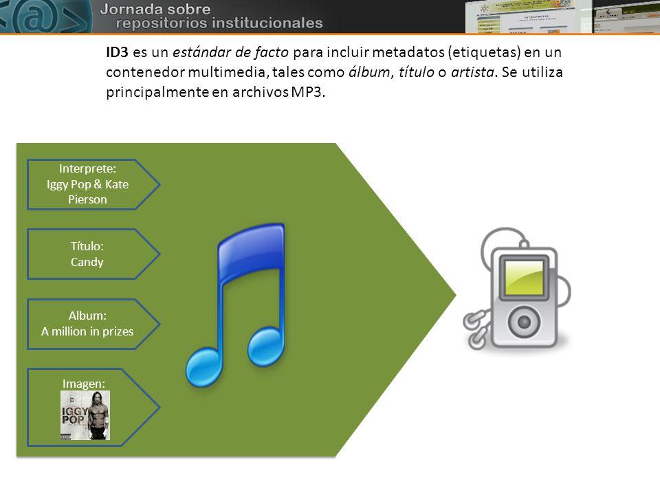 Interprete: Iggy Pop & Kate Pierson Título: Candy Album: A million in prizes Imagen: ID3 es un estándar de facto para incluir metadatos (etiquetas) en