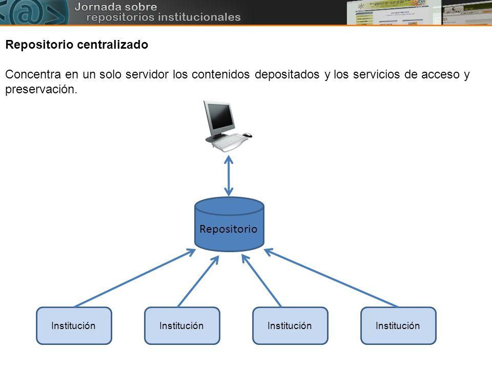 Institución Repositorio Repositorio centralizado Concentra en un solo servidor los contenidos depositados y los servicios de acceso y preservación.