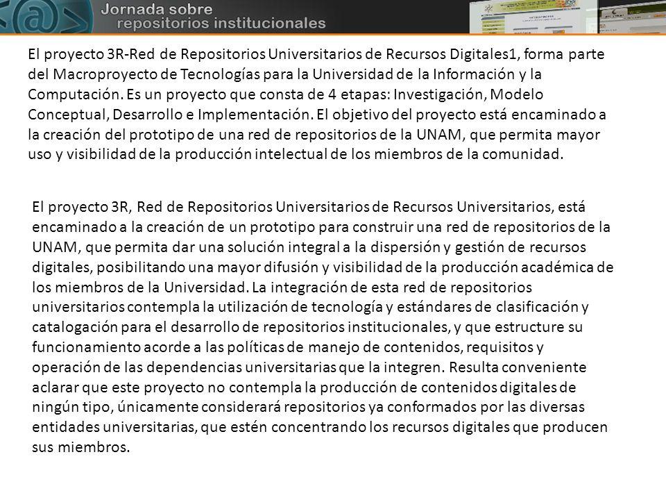 El proyecto 3R-Red de Repositorios Universitarios de Recursos Digitales1, forma parte del Macroproyecto de Tecnologías para la Universidad de la Infor