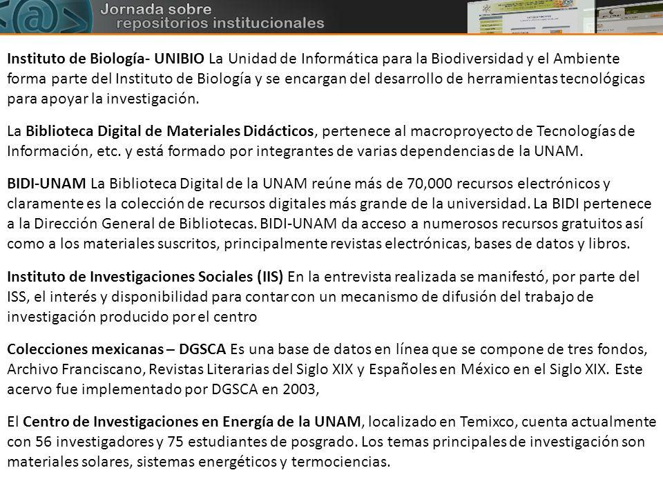 Instituto de Biología- UNIBIO La Unidad de Informática para la Biodiversidad y el Ambiente forma parte del Instituto de Biología y se encargan del des