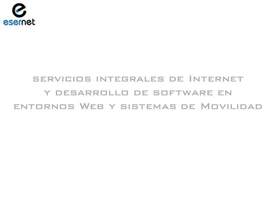 Emisión de Pagarés y Transferencias a Proveedores Confirming Liquidación de Gastos de Viaje Gastos Financieros ENTORNO WINDOWS Y DE RED LOCAL Productos y Servicios Redes Privadas Virtuales sobre Internet Servidores Web Propios Intranets · Extranets Desarrollo de Software Tiendas Virtuales Desarrollos Específicos para PDAs y XDAs SOLUCIONES DE INTEGRACIÓN Y MOVILIDAD