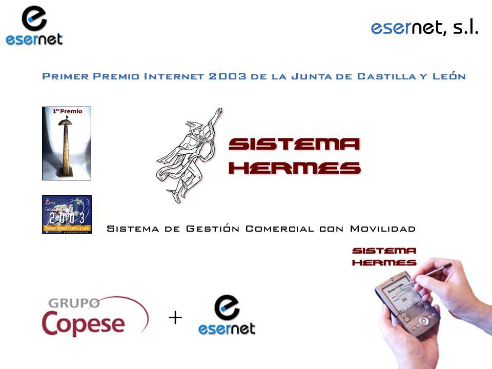 Primer Premio Internet 2003 de la Junta de Castilla y León Sistema de Gestión Comercial con Movilidad + esernet, s.l.