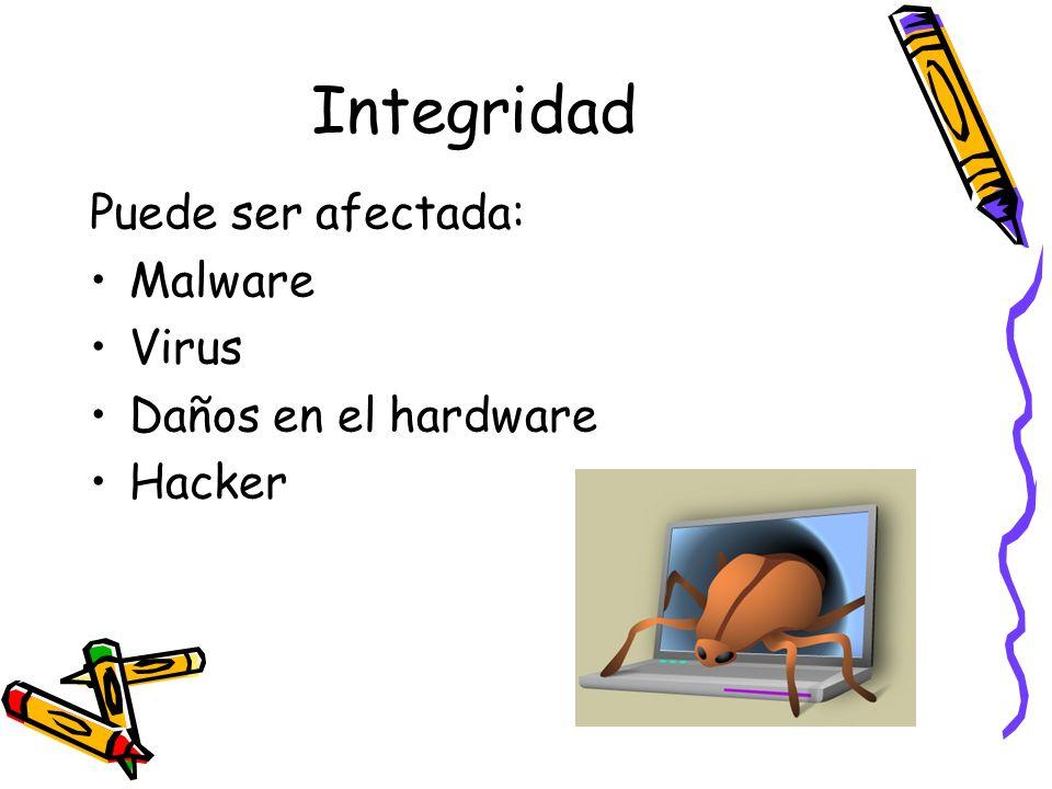 Integridad Puede ser afectada: Malware Virus Daños en el hardware Hacker