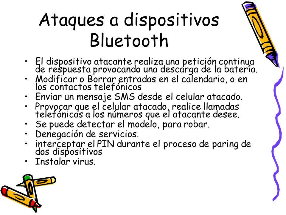 Ataques a dispositivos Bluetooth El dispositivo atacante realiza una petición continua de respuesta provocando una descarga de la batería. Modificar o