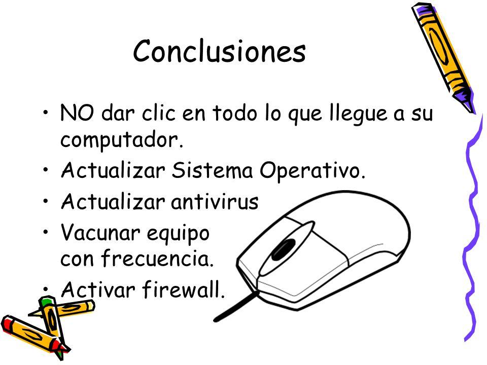 Conclusiones NO dar clic en todo lo que llegue a su computador. Actualizar Sistema Operativo. Actualizar antivirus Vacunar equipo con frecuencia. Acti