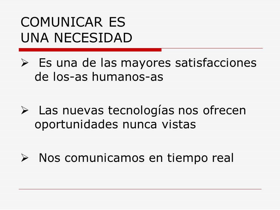 COMUNICAR ES UNA NECESIDAD Es una de las mayores satisfacciones de los-as humanos-as Las nuevas tecnologías nos ofrecen oportunidades nunca vistas Nos