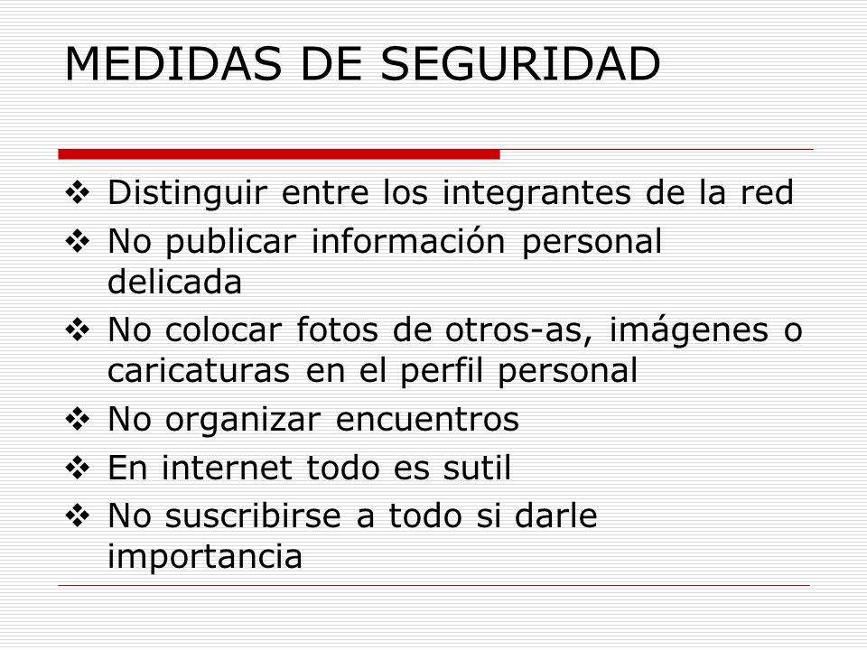 MEDIDAS DE SEGURIDAD Distinguir entre los integrantes de la red No publicar información personal delicada No colocar fotos de otros-as, imágenes o car