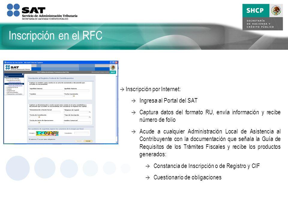 Inscripción en el RFC Inscripción por Internet: Ingresa al Portal del SAT Captura datos del formato RU, envía información y recibe número de folio Acu