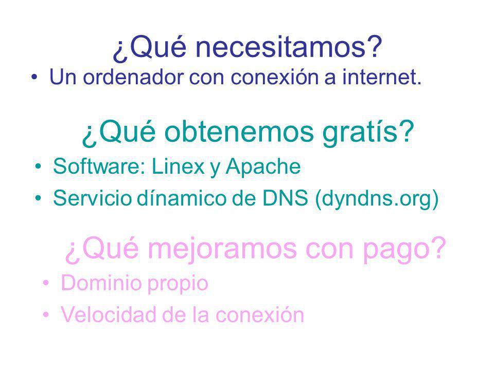 ¿Qué necesitamos? Un ordenador con conexión a internet. ¿Qué obtenemos gratís? Software: Linex y Apache Servicio dínamico de DNS (dyndns.org) ¿Qué mej