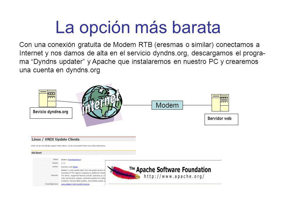 La opción más barata Servidor web Sevicio dyndns.org Modem Con una conexión gratuita de Modem RTB (eresmas o similar) conectamos a Internet y nos damos de alta en el servicio dyndns.org, descargamos el progra- ma Dyndns updater y Apache que instalaremos en nuestro PC y crearemos una cuenta en dyndns.org
