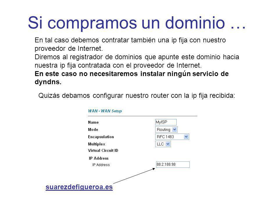 Si compramos un dominio … En tal caso debemos contratar también una ip fija con nuestro proveedor de Internet. Diremos al registrador de dominios que