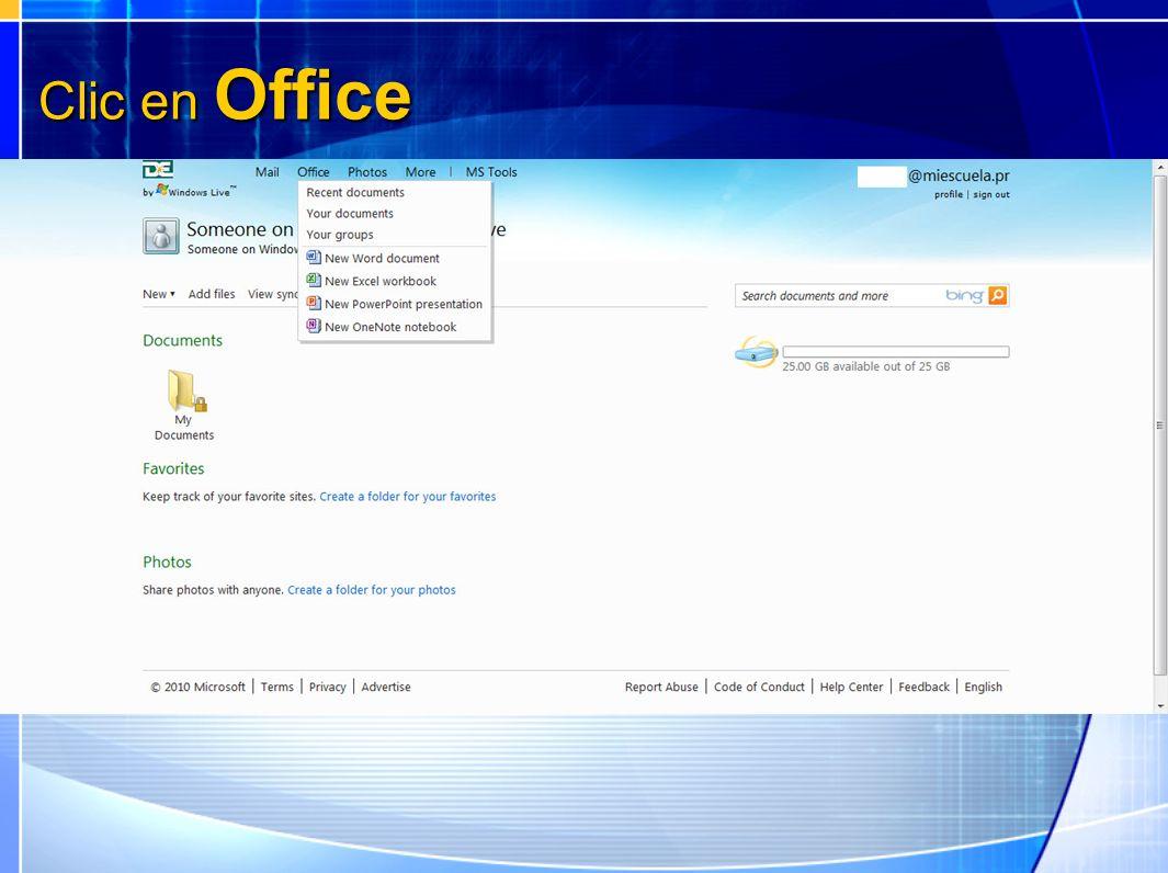 Clic en Office