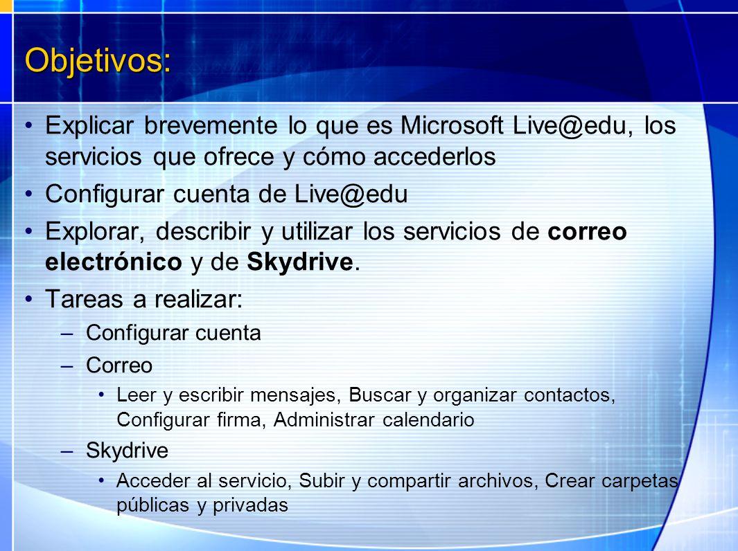 Objetivos: Explicar brevemente lo que es Microsoft Live@edu, los servicios que ofrece y cómo accederlos Configurar cuenta de Live@edu Explorar, descri