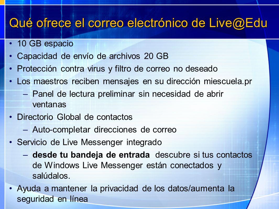 Qué ofrece el correo electrónico de Live@Edu 10 GB espacio Capacidad de envío de archivos 20 GB Protección contra virus y filtro de correo no deseado