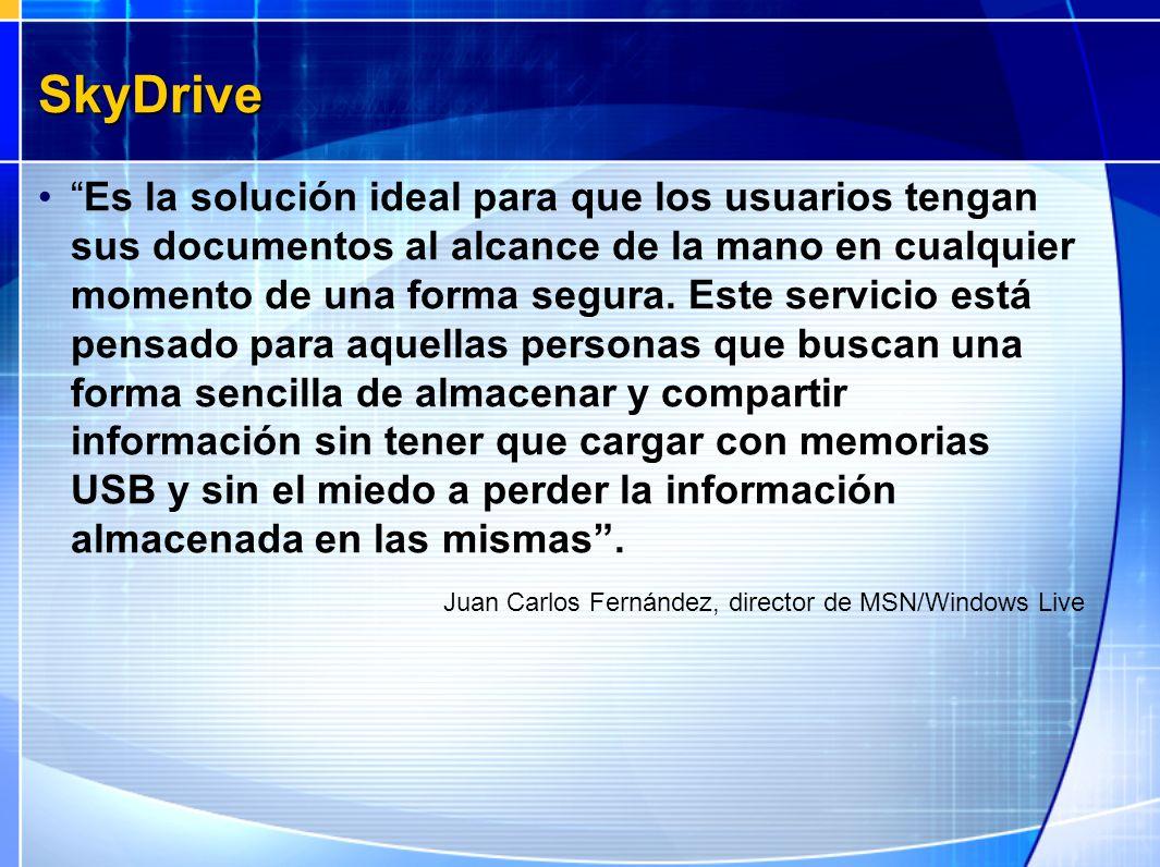 SkyDrive Es la solución ideal para que los usuarios tengan sus documentos al alcance de la mano en cualquier momento de una forma segura. Este servici