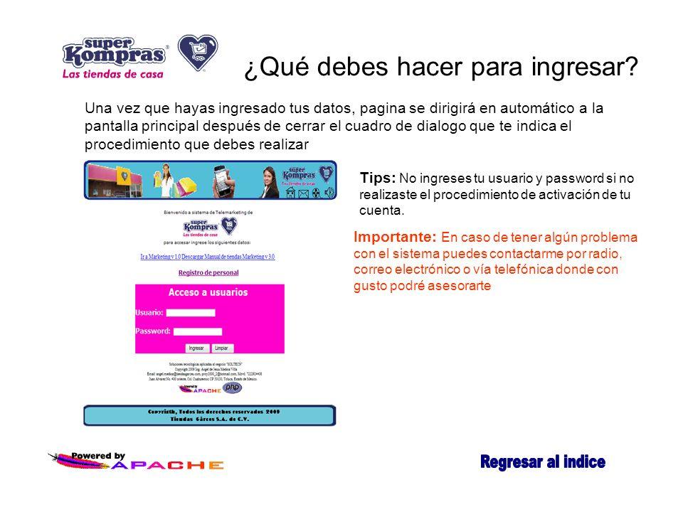 ¿Qué debes hacer para ingresar? Una vez que hayas ingresado tus datos, pagina se dirigirá en automático a la pantalla principal después de cerrar el c