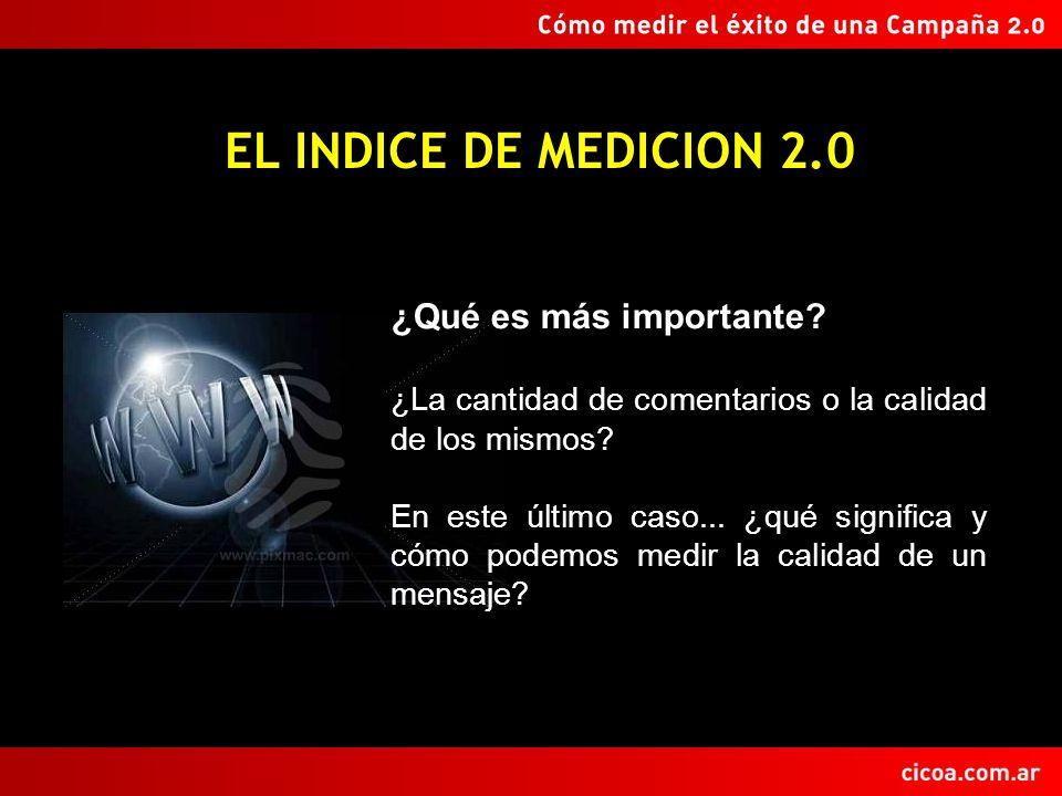 EL INDICE DE MEDICION 2.0 ¿Qué es más importante? ¿La cantidad de comentarios o la calidad de los mismos? En este último caso... ¿qué significa y cómo