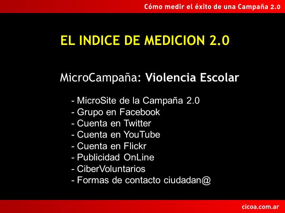 EL INDICE DE MEDICION 2.0 - MicroSite de la Campaña 2.0 - Grupo en Facebook - Cuenta en Twitter - Cuenta en YouTube - Cuenta en Flickr - Publicidad OnLine - CiberVoluntarios - Formas de contacto ciudadan@ MicroCampaña: Violencia Escolar