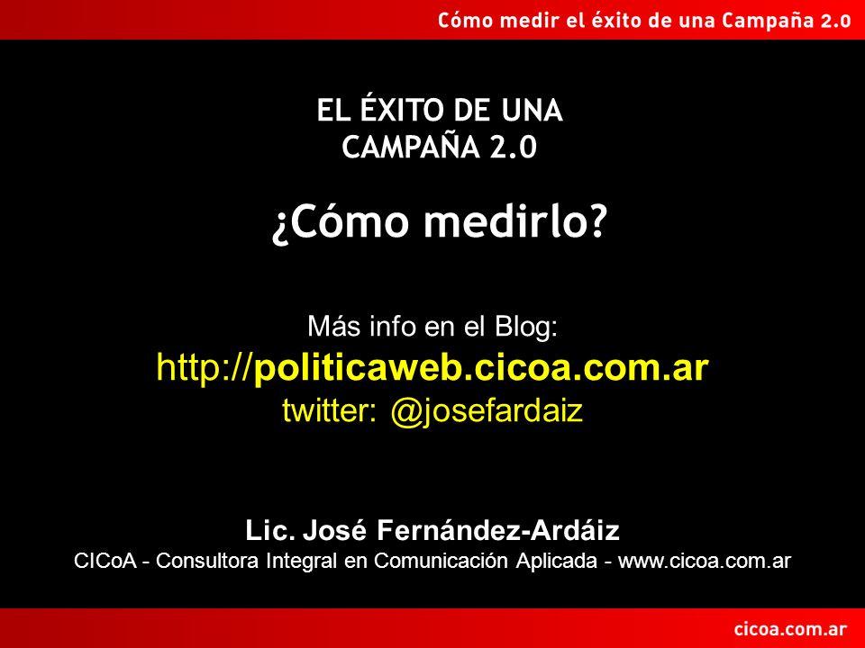 Lic. José Fernández-Ardáiz CICoA - Consultora Integral en Comunicación Aplicada - www.cicoa.com.ar EL ÉXITO DE UNA CAMPAÑA 2.0 ¿Cómo medirlo? Más info