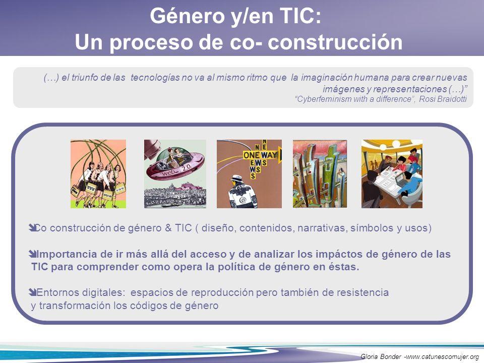 Género y/en TIC: Un proceso de co- construcción Co construcción de género & TIC ( diseño, contenidos, narrativas, símbolos y usos) Importancia de ir m