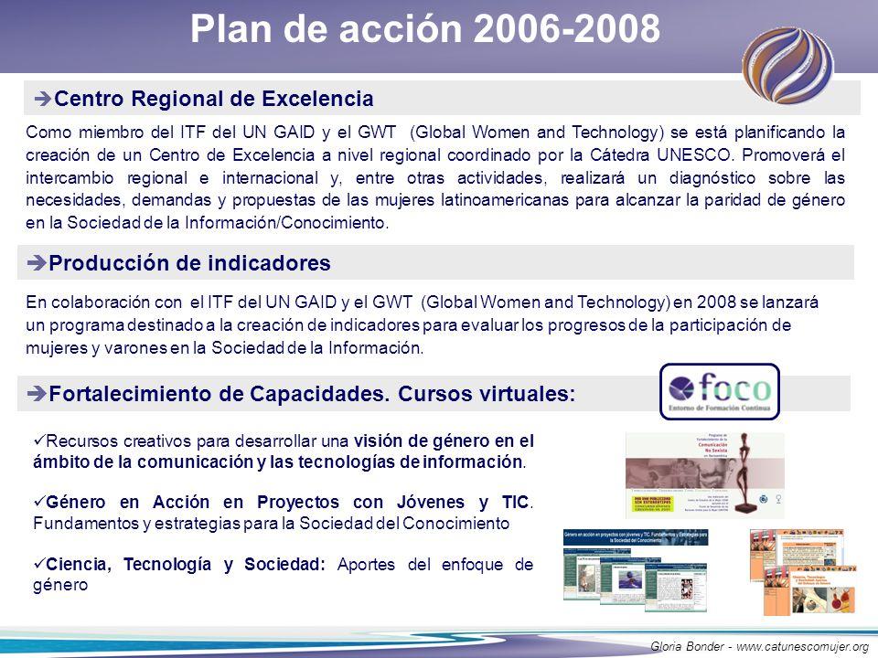 Plan de acción 2006-2008 Centro Regional de Excelencia Como miembro del ITF del UN GAID y el GWT (Global Women and Technology) se está planificando la